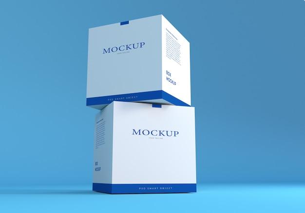 Maquette de boîte d'emballage avec fond bleu