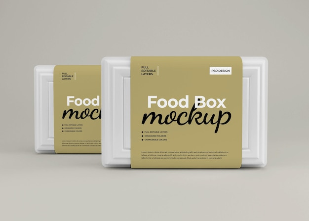 Maquette de boîte à emporter pour emballage de restauration rapide