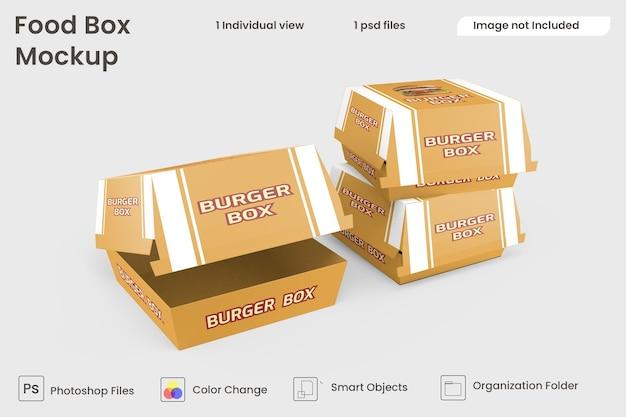 Maquette de boîte à hamburger premium psd