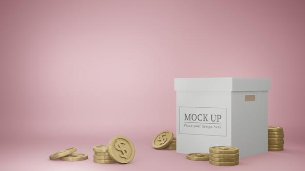 Maquette de boîte avec des pièces d'or.