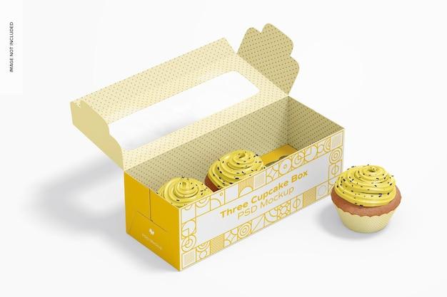 Maquette de boîte à trois cupcakes