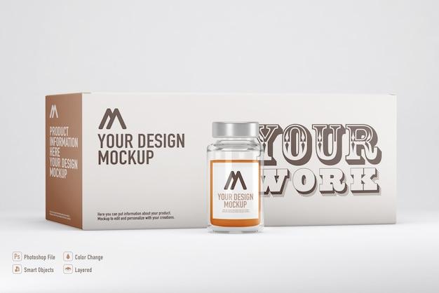 Maquette de boîte de vaccin isolée