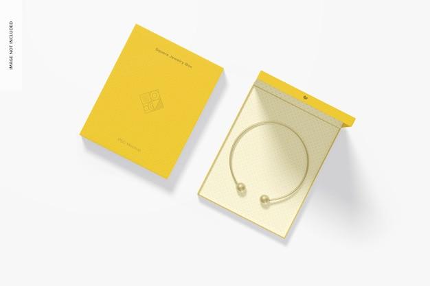 Maquette de boîtes à bijoux carrées, vue de dessus