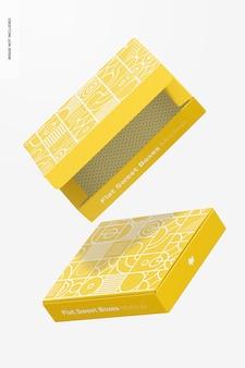 Maquette De Boîtes à Bonbons Plates, Tombant PSD Premium