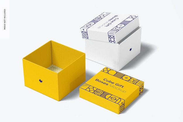 Maquette de boîtes-cadeaux de cube, ouvertes et fermées