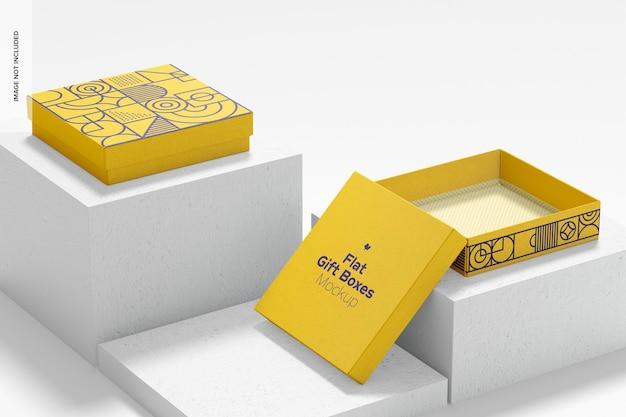 Maquette de boîtes-cadeaux plates, ouvertes et fermées