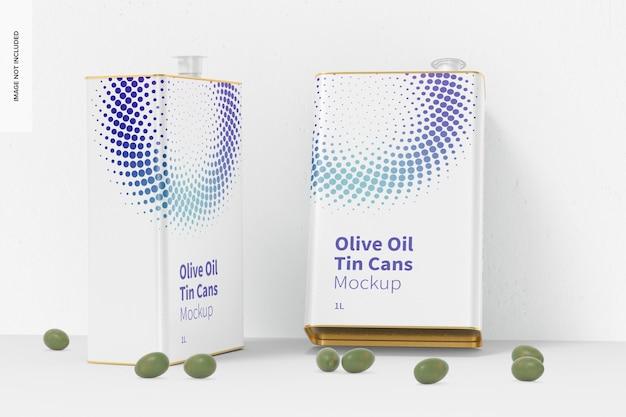 Maquette de boîtes de conserve rectangulaires d'huile d'olive de 1 litre, penchée
