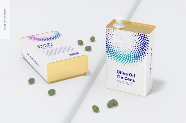 Maquette de boîtes de conserve rectangulaires d'huile d'olive de 1 litre