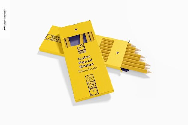 Maquette de boîtes à crayons de couleur