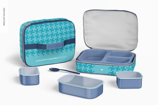 Maquette de boîtes à lunch en trois sections