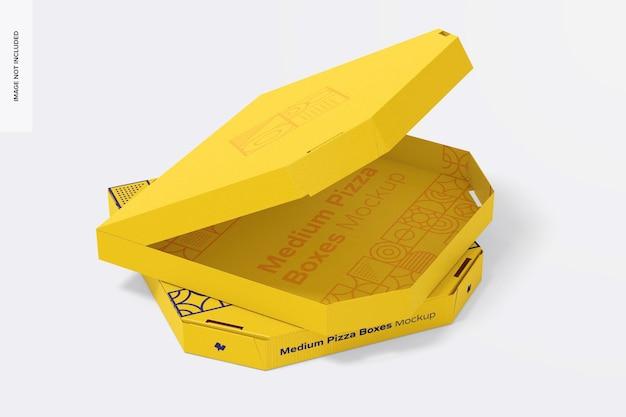 Maquette de boîtes à pizza moyennes, ensemble empilé