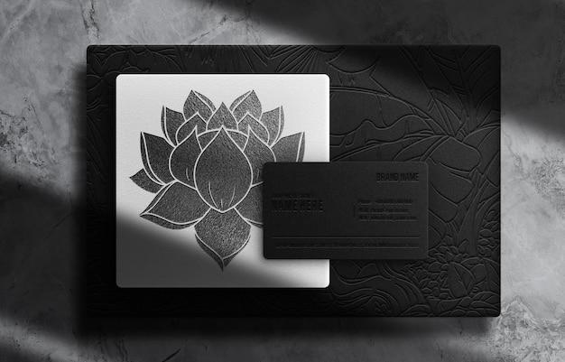 Maquette de boîtes en relief noires de luxe