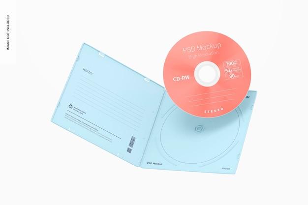 Maquette de boîtier de cd en plastique carré, flottant