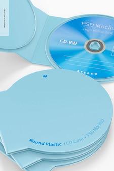 Maquette de boîtier de cd en plastique rond, gros plan