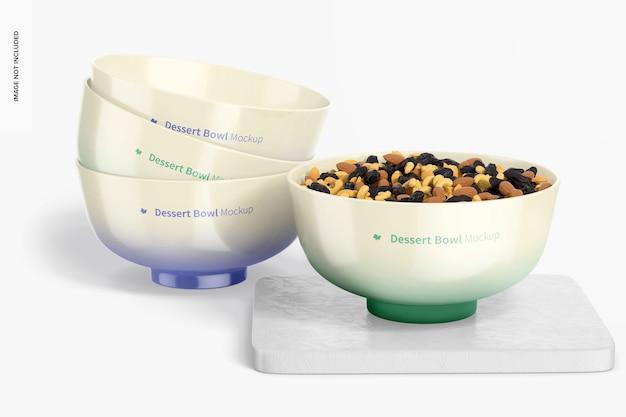 Maquette de bols à dessert en porcelaine, empilés