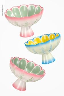 Maquette de bols à pieds en céramique, tombant