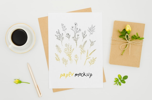 Maquette botanique de plantes et de café