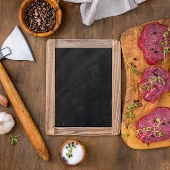 Maquette de boucherie à plat