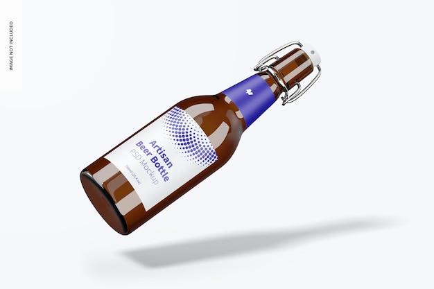 Maquette de bouteille de bière artisanale, tombant
