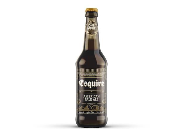Maquette de bouteille de bière brune