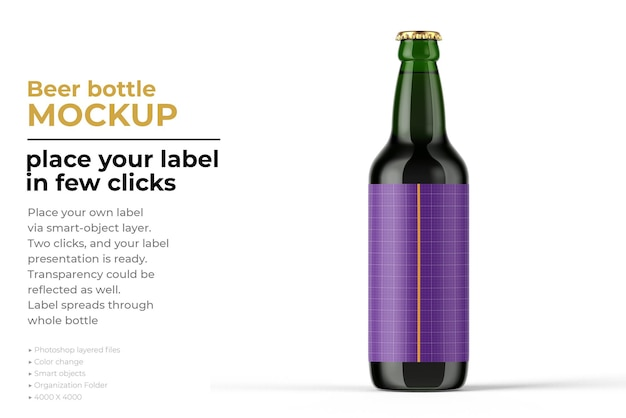 Maquette de bouteille de bière isolée