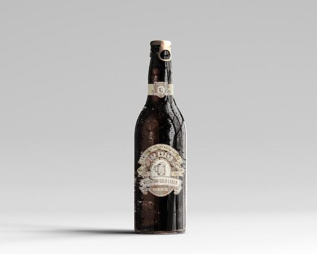 Maquette de bouteille de bière en verre ambré avec gouttes d'eau - vue de face