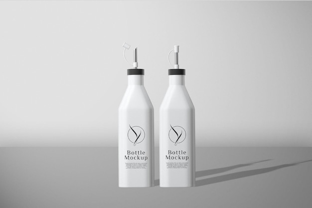 Maquette de bouteille blanche vue de face
