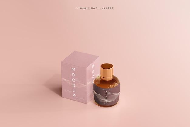 Maquette d'une bouteille et d'une boîte cosmétiques exposées