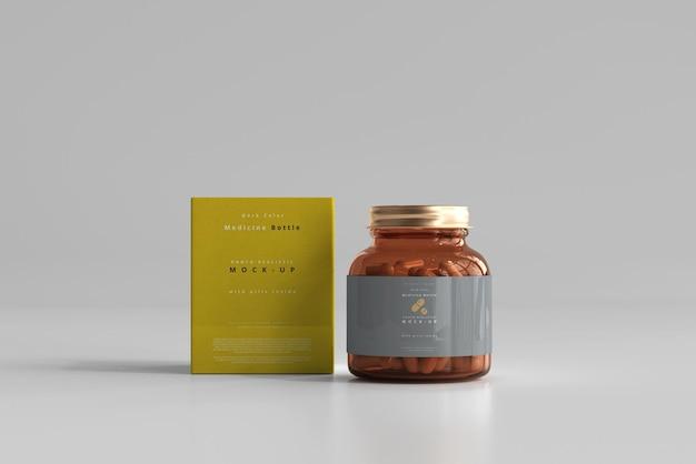 Maquette de bouteille et boîte de médicament ambre