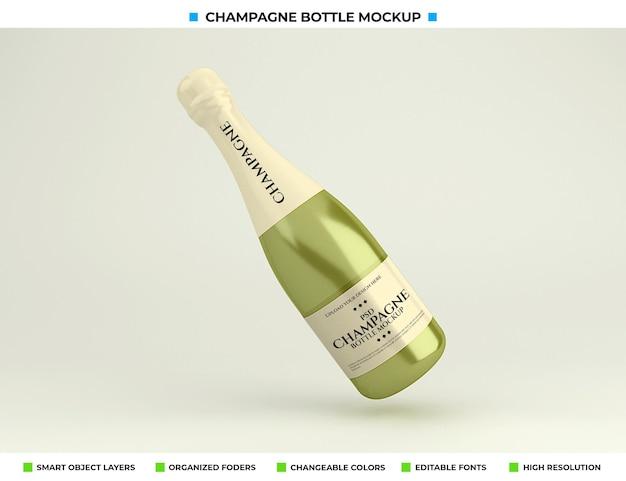 Maquette de bouteille de champagne isolée