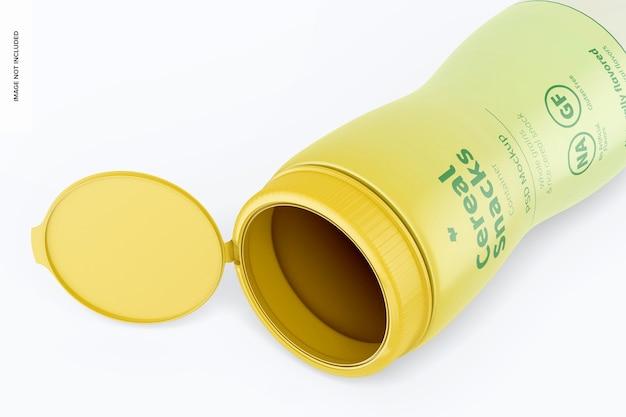 Maquette de bouteille de collations aux céréales, ouverte