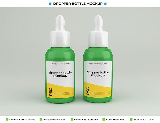 Maquette de bouteille compte-gouttes isolée