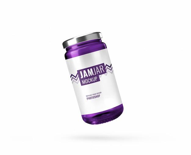 Maquette de bouteille de confiture violette réaliste