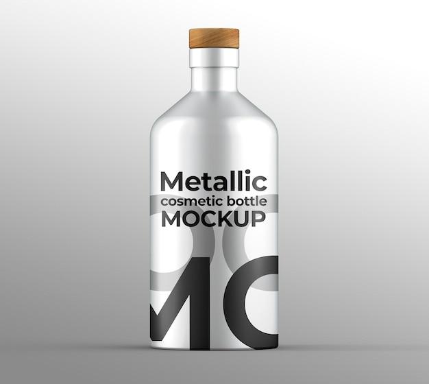 Maquette de bouteille cosmétique métallique
