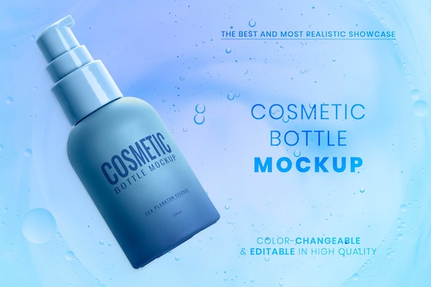 Maquette de bouteille cosmétique psd prête à l'emploi emballage de soins de la peau