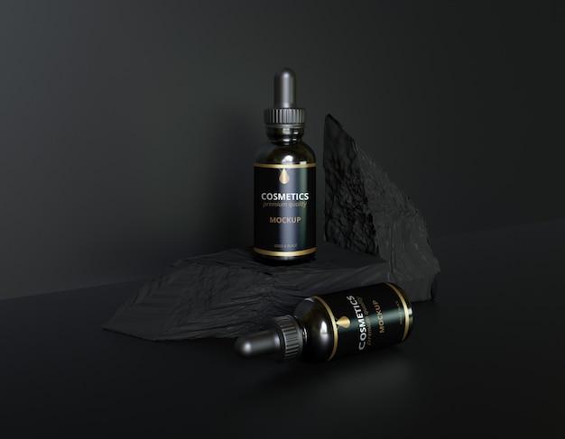 Maquette de bouteille de cosmétiques de luxe en or noir