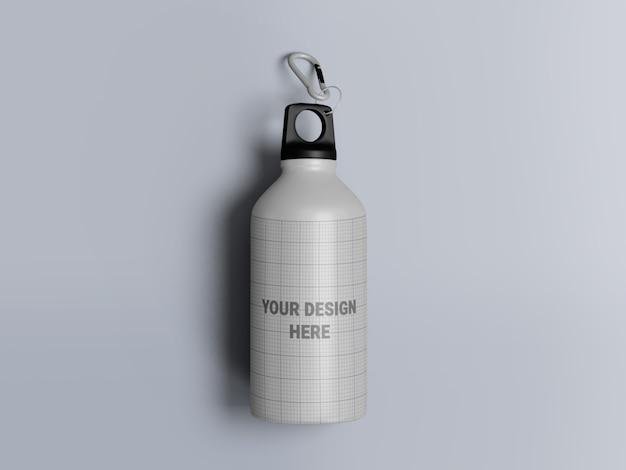 Maquette de bouteille d'eau en aluminium isolée