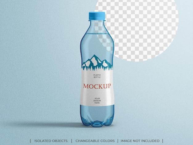 Maquette de bouteille d'eau de boisson minérale d'emballage en plastique isolé