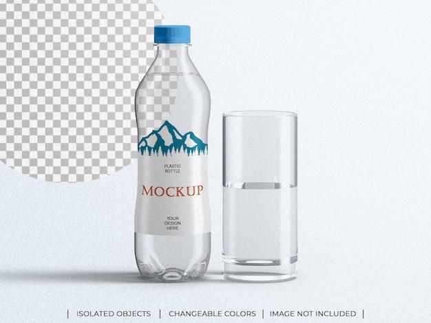 Maquette de bouteille d'eau de boisson minérale d'emballage en plastique