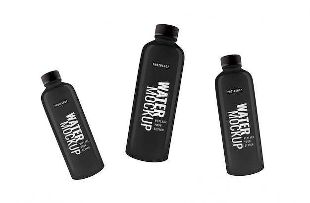 Maquette de bouteille d'eau noire minimaliste réaliste