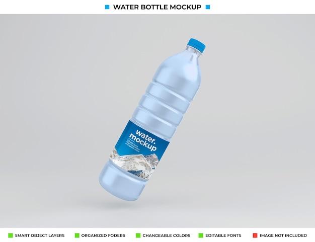 Maquette de bouteille d'eau en plastique isolée