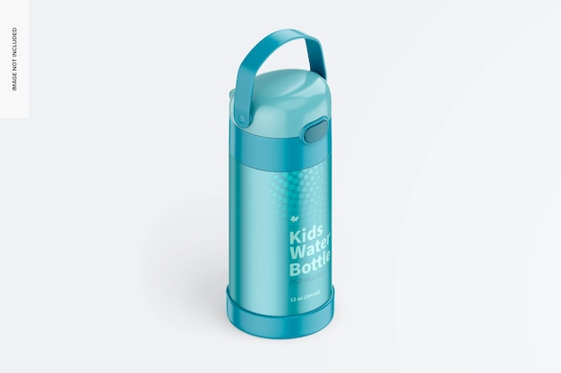 Maquette de bouteille d'eau pour enfants de 12 oz, vue isométrique de droite