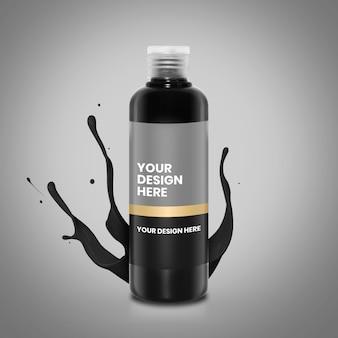 Maquette de bouteille d'encre noire 250 ml