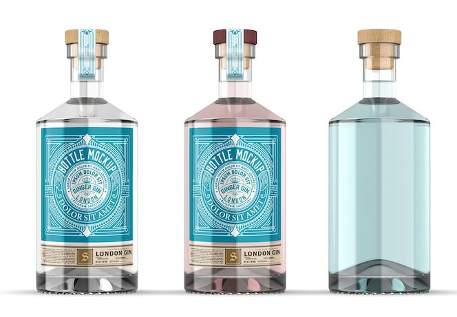 maquette de bouteille de gin en verre transparent isolé