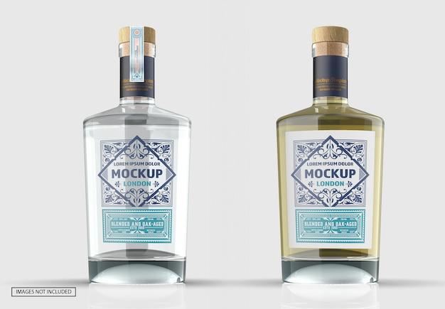 Maquette de bouteille de gin en verre transparent