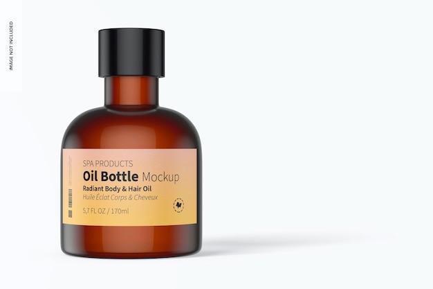 Maquette de bouteille d'huile de 5,7 oz, vue de face