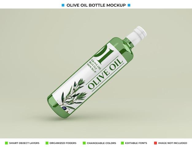 Maquette de bouteille d'huile d'olive isolée