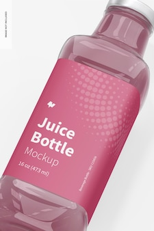 Maquette de bouteille de jus en verre de 16 oz, gros plan