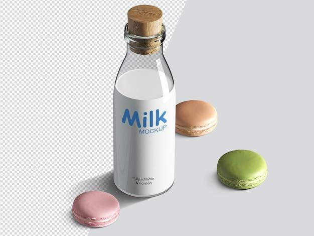 Maquette de bouteille de lait isométrique réaliste avec des biscuits au macaron