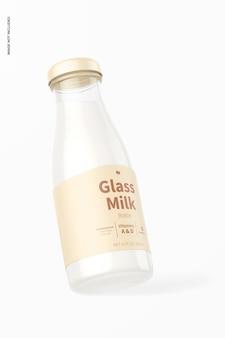 Maquette de bouteille de lait en verre, penchée